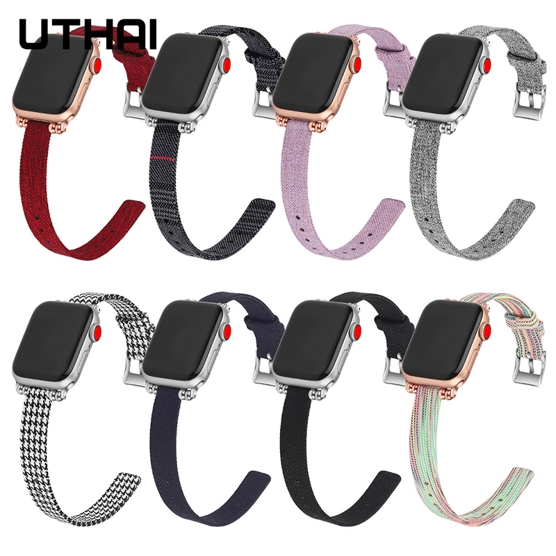 UTHAI P40 Nylon Canvas For Apple Watch Strap Suitable For Iwatch 1/2/3/4 Generation Jewellery Watch Strap