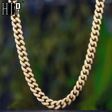 Hip Hop Iced Out 13MM Miami Curb Figaro Link Chain Necklace Gold AAA Paved Rhinestones CZ Bling Necklaces Men Rapper Jewelry