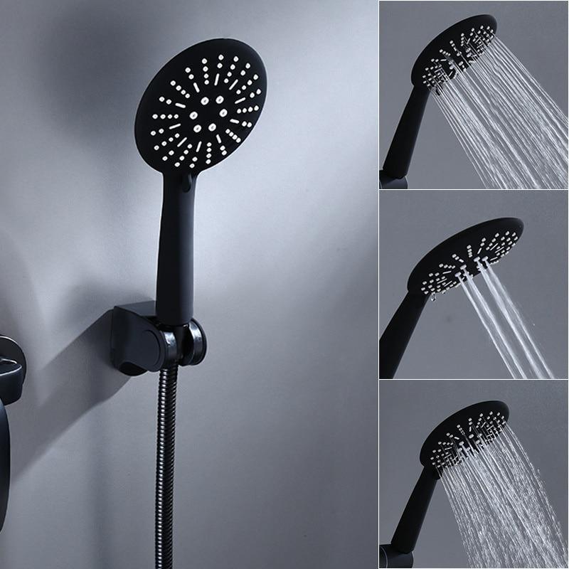 H856d54a1793c4c9f9ec2d0ca780da6f6g Matte Black Bathroom Shower Faucets Bath Shower Mixer Control Valve Water Tap Wall Mount Bathtub HandHeld Shower Head Set