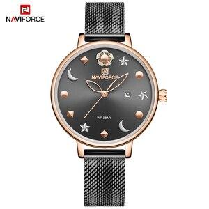 Image 1 - NAVIFORCE Uhr Frauen Mode Kleid Quarz Uhren Dame Edelstahl Wasserdichte Armbanduhr Einfache Mädchen Uhr Relogio Feminino
