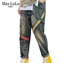 Harem Pants Trousers Women Max Lulu Ripped Denim Striped Plus-Size Jeans Vintage Elastic