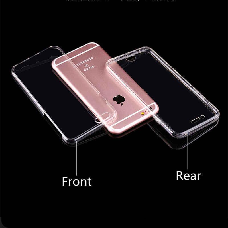 360 度フルカバークリア電話ケース iphone 11 プロ XR Xs 最大ソフトシリコン Tpu ケース 7 6 6s 8 プラス X 5 5S 、 SE 4s