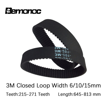 HTD 3M Timing belt Pitch Length 645-813mm Width 6mm 10mm 15mm Teeth 215-271 Rubber HTD3M Synchronous Belt In Closed-loop For CNC mxl timing belt 302 320 362 403 456 510 518 608 640 764 810mxl 6mm 10mm belt width 2 032mm pitch rubber synchronous timing belt