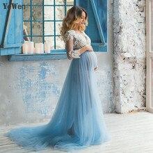 Lace Formal Pregnant Photo dress Long Sleeve See Through Blue Evening Dresses Custom Size Plus 2016 Dress