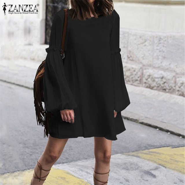 Women's Dress ZANZEA Bohemian Loose Long Shirt Dresses Fashion Ladies Sexy Lace Up Backless Vestidos Short Dresses Plus Size 5XL 4