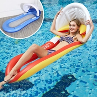 160x90cm Inflatable Shed Sunshade Floating Bed Collapsible Recliner Outdoor Water Hammock Swimming Pool Inflatable Floating Row