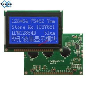 Image 5 - lcd display screen  12864 128*64 blue white 75x52.7cm 5v S6B0107 half or full hole LCM12864D V1.0 instead  WG12864B AC12864E