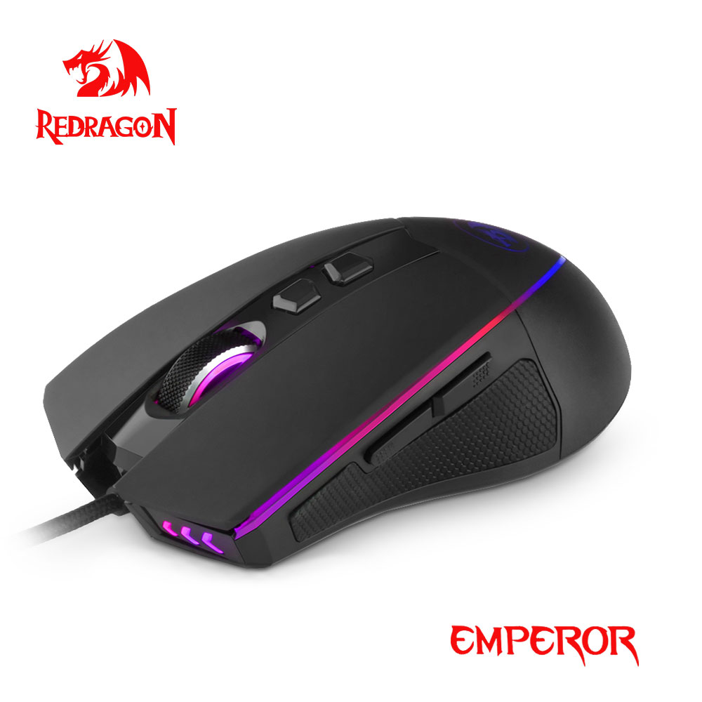 Redragon Emperor RGB USB Gaming Mouse Wired 12400DPI 8 Buttons For Computer Programmable Optics Mice Gamer PC laptop M909