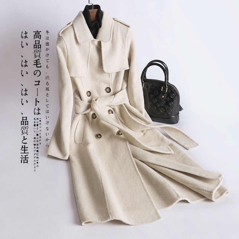 Otoño elegante abrigo de lana mujer invierno abrigos 2020 moda coreana señoras Cachemira Chaqueta larga cinturón Delgado prendas de vestir 020LW