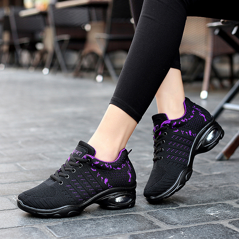 Women Modern Soft Outsole Dance Sneakers Breathable Dancing Fitness Training Shoes zapatos de baile latino mujer sapato feminino image