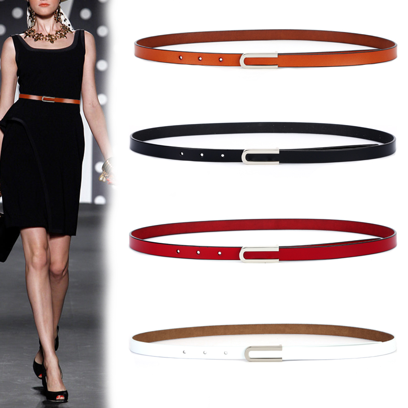 New Fashion Women's Genuine Leather Belts Design Thin Soft Cowhide Belt For Women Punk Silver Buckle Cow Leather Strap For Dress