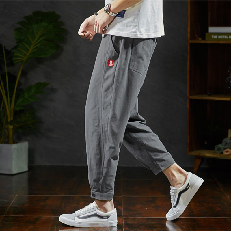 Autumn Cotoon Linen Pants Men Cargo Joggers Casual Sweatpants Techwear Ankle Length Track Trousers