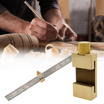 New Brass Marking Parallel Gauge Steel Ruler Stop Stainless for Transferring Dimensions Craftsmen Woodworking Tools
