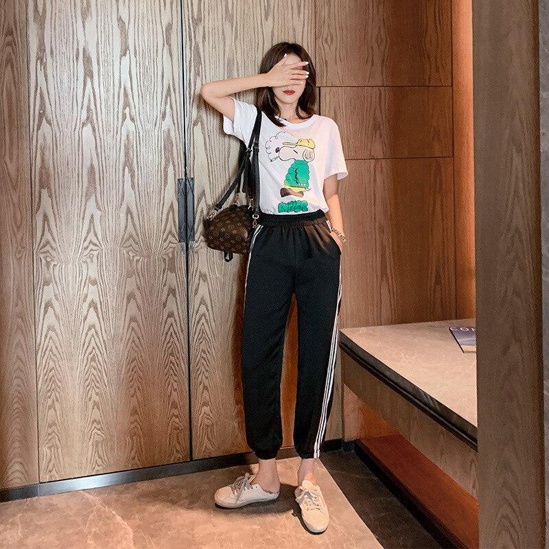 Online Celebrity Leisure Sports Suit WOMEN'S Dress New Style Korean-style Printing Short-sleeved T-shirt Harem Pants Sub-a Gener