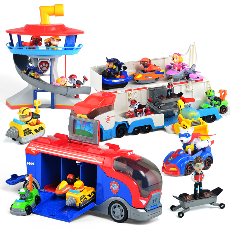 Paw Patrol Bus Dog Patrulla Canina Toys Anime Figurine Car PVC Material Toy Action Figure Model Children Toys Christmas Gifts