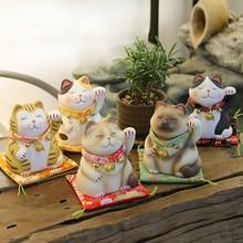 Японские 6 дюймов манэки-нэко \ статуя Lucky Cat Коллекционная Фигурка фэншуй успешной карьеры удачи и удачи очарование хорошего здоровья