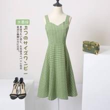 Robe à carreaux Vintage pour femmes, vêtement d'été coréen, sans manches, longueur aux genoux, élégant, col en v, dos nu, ligne a, robe de soirée