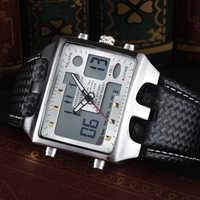 Relojes OHSEN para hombre, relojes deportivos, relojes de pulsera de cuarzo con doble pantalla, Relojes de Cuero para hombre