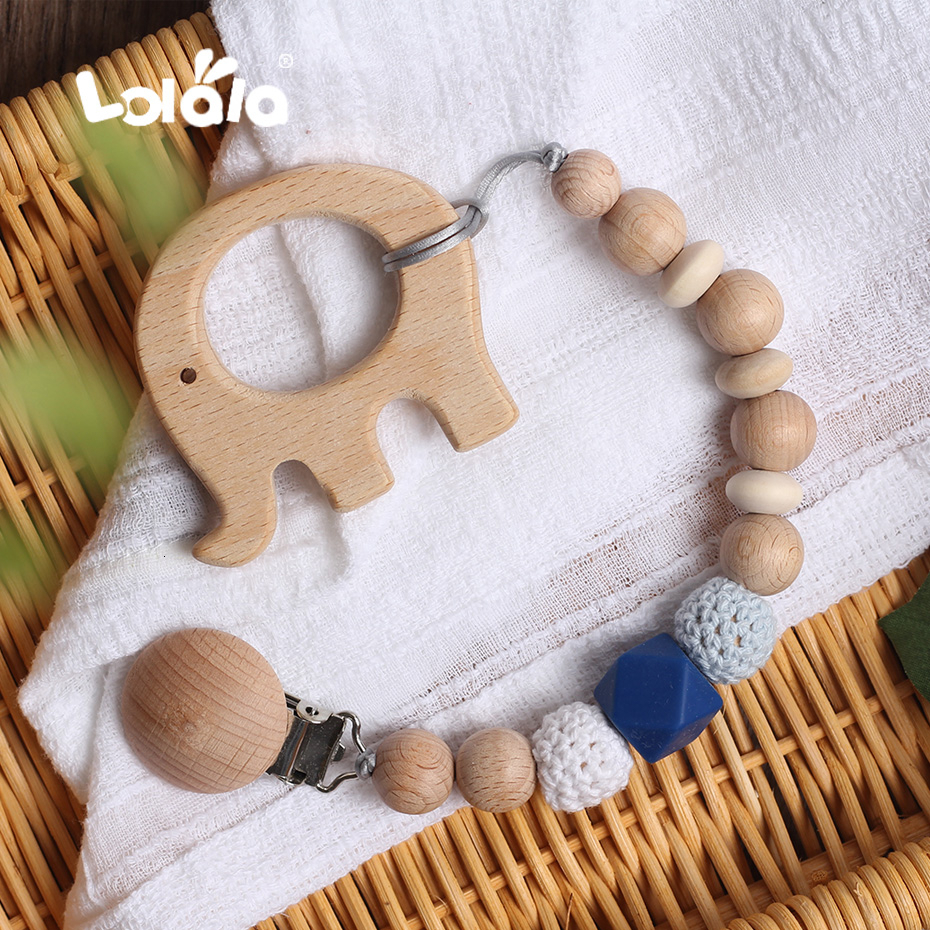 Baby Teether Pacifier Chain Natural Beech Cartoon Rodent For Pendant Clip Silicone Wooden  Beads Baby Nursing Christmas Day Gift