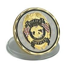 Vergulde Saint Michael Patroonheilige Van Rechtshandhaving Politie Commemorative Uitdaging Coin Beschermen Ons Militaire Munten Geschenken