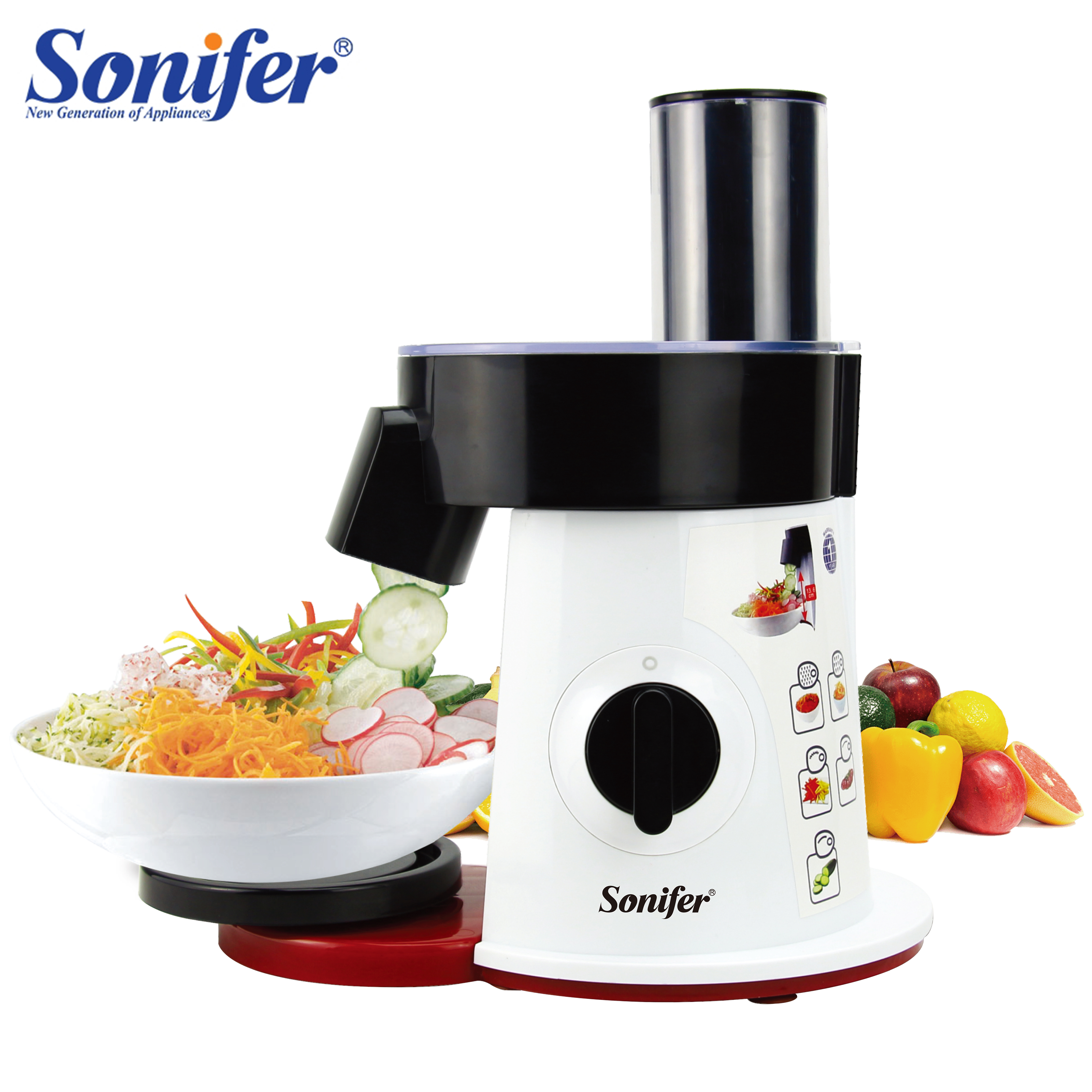 Food Processor Vegetable Cutter Round Electric Slicer Grater Potato Carrot Shredder Slicer Vegetable Chopper for Kitchen Sonifer|Food Processors|   - AliExpress