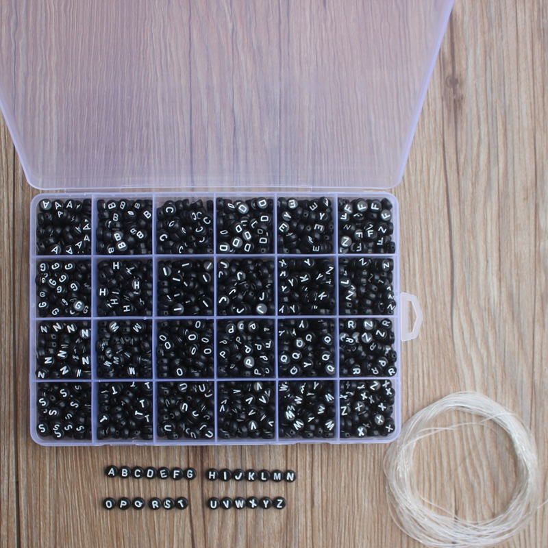 1200pcs Square Acrylic Letter Beads for diy jewelry making bracelet necklace Plastic Alphabet Spacer Beads wholesale