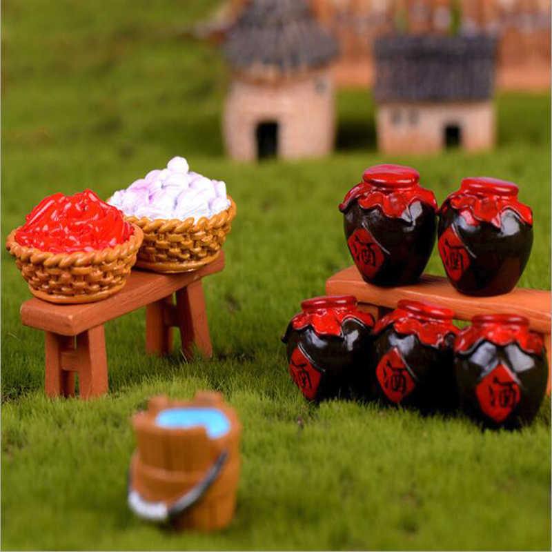 Pastoral style Micro Landscape Accessories Wine Bowl Jar Haystack Wooden Bucket Chili Garlic Bamboo Basket Garden Home Decor 1PC