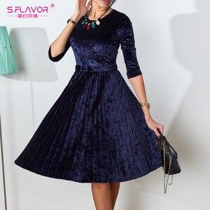 Image 4 - Flavor vintage 3/4 manga vestido de veludo soild cor feminina 2020 primavera verão vestidos de festa plissados cinto sólido a linha vestidos