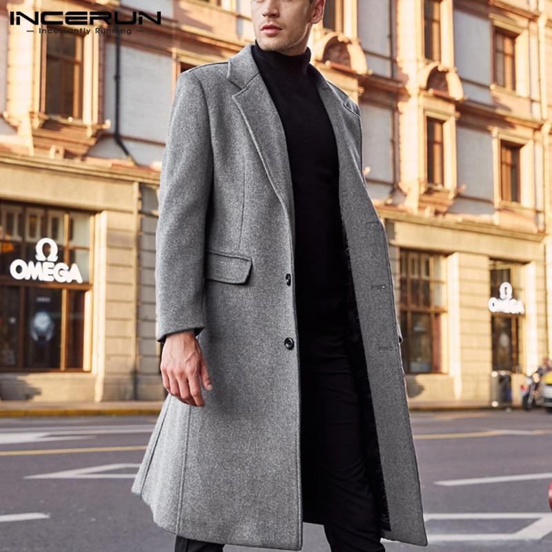 INCERUN Winter Men Coats Woolen Solid Long Sleeve Jackets Fleece Men Overcoats Streetwear Fashion Long Trench Outerwear 2020 5XL