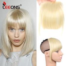 Leeons naturalne proste syntetyczne tępe grzywki wysokiej temperatury włókna brązowe kobiety Clip-In pełne grzywki z frędzlami włosów 6 Cal