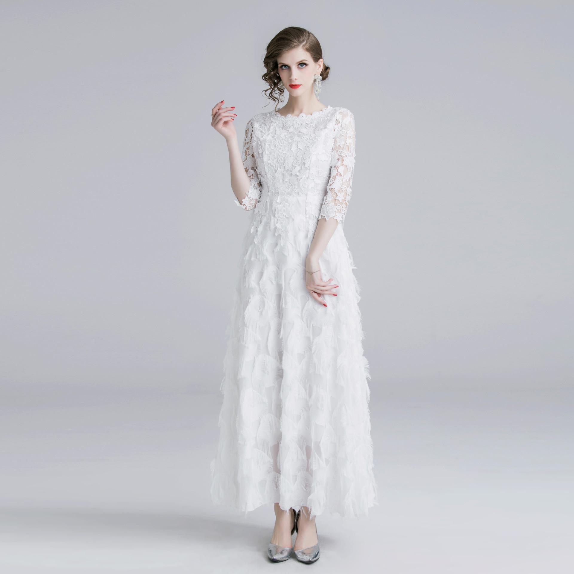 Женское длинное платье с перьями, элегантное кружевное платье до щиколотки с круглым вырезом и рукавом три четверти, Новинка осени 2019
