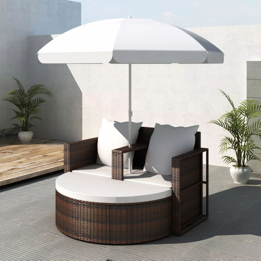 Garden-Bed Lounge-Set Outdoor Rattan with Parasol Brown Poly Weather-Proof Uv-Light-Resistant