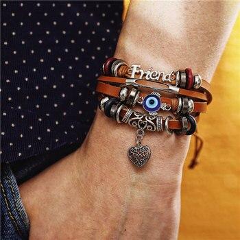IF ME Fashion Adjustable Multilayer Leather Bracelet Men Male Handmade Wrap Rope Horn Leaf Feather Set Bracelet Bangles Jewelry 4
