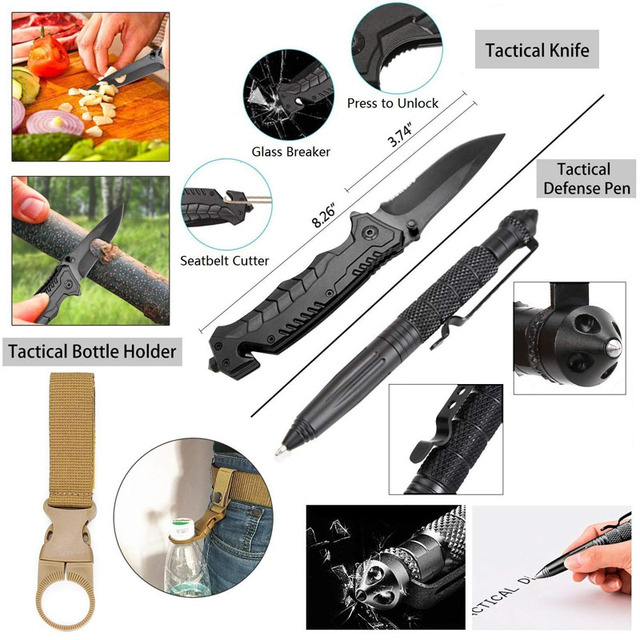 Emergency Survival Kit 36 in 1 SOS,EDC Blanket Knife Flashlight Pliers Wire Saw for Wilderness Camping First Aid for Earthquake 3