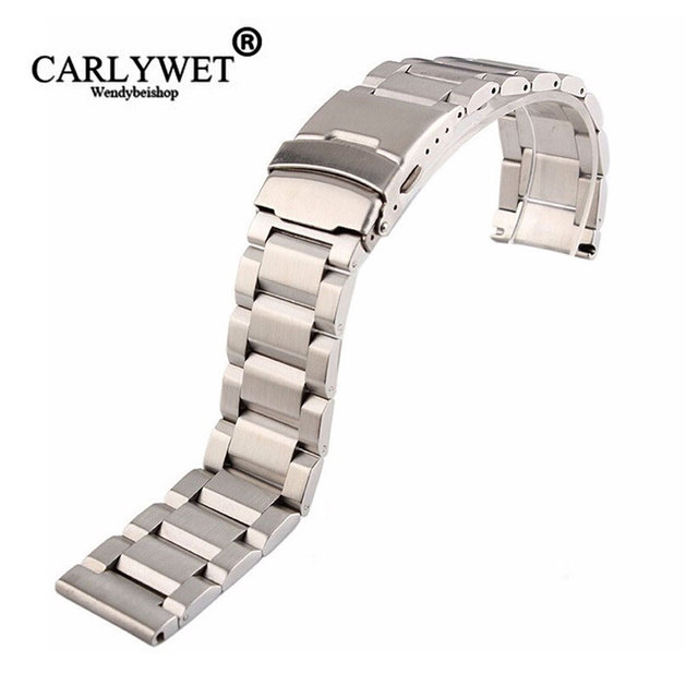 Rolamy 18 20 22 24mm New Man Silver Brushed Solid Stainless Steel Bracelet Watch Band Strap Belt For Seiko Tudor Tag Heuer