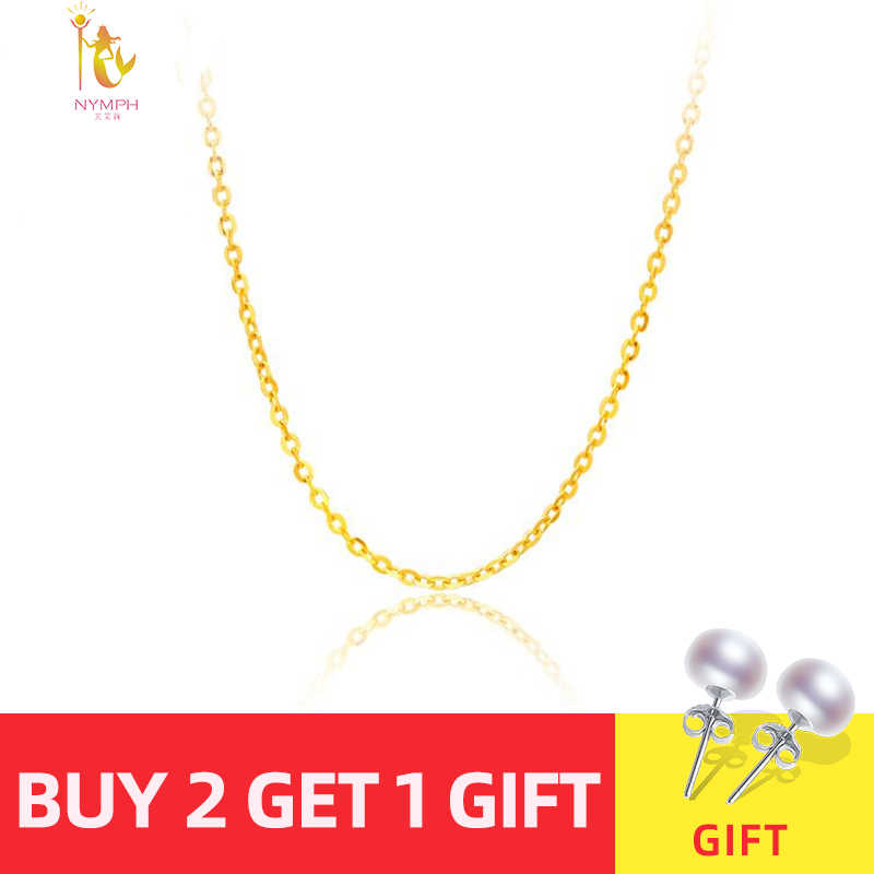 [ NYMPH] Genuine 18K White Yellow  Rose Gold Chain Cost Price Sale Pure Gold Necklace Best Gift For Women [G1001]