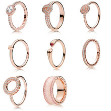 925 Sterling Silver Finger Ring For Women Rose Gold Color Full Crystal Round Shape Red Heart Ring For Women Women Fine Jewelry(China)