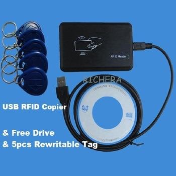 USB 125khz RFID ID card Read-write Device Copier Duplicate Compatible EM4100 EM4305 T5577 Rewritable Card  & 5pcs Writable Tag 10pcs lot 125khz t5577 cards t5557 em4305 card rfid smart card duplicator copy clone em4100 duplicate proximity rewritable