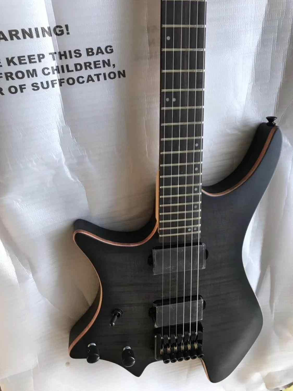 במלאי, 6 מיתרי גיטרה חשמלית בלי הראש, lefthand Grote גיטרה, כהה אפור טייגר flamed למעלה, אבוני חיף, משלוח חינם