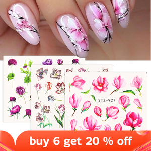 1pcs Flower Series Nail Water Decal Sticker Floral Sakura Daisy Rose Leaf Transfer Slider Foil Nail Decoration SASTZ922-957-1