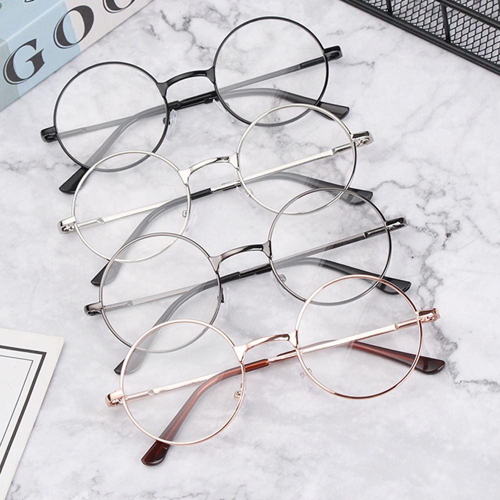 1Pc New Metal Round Eyeglasses Frame Classic Vintage Glasses Lens Flat Myopia Optical Mirror Simple Fashion Unisex Glasses