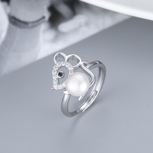 S925 Mouse Shape Large Fresh Water Pearl Resizable Finger Rings Fashion Accessories Ring Fashion Jewelry Lovers Women Gifts