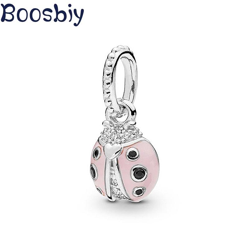 Boosbiy 2pc Silver Color Charms Cute Pink Enamel Ladybug Beads Pendant Fit Pandora Bracelet For Women Fashion DIY Jewelry Making(China)