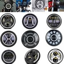 """יוניברסל 7 """"Led רכב אופנוע פנס DRL halo H4 Phare Farol Moto פנס ראש אור עבור Softail קפה רייסר מסוק הונדה"""