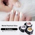 VDN дизайн ногтей Металл окрашенные клей фототерапия клей Золото Серебро Матовый прочный водонепроницаемый 3 цвета на выбор Дизайн ногтей ко...