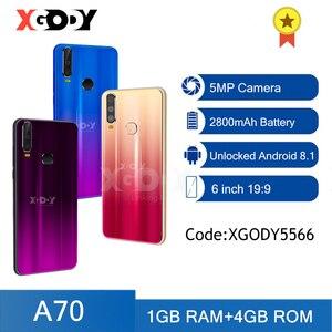XGODY A70 3G смартфон Android сотовый телефон с двумя SIM-картами 1 ГБ 4 ГБ разблокированный сотовый телефон GPS WiFi 5 Мп 6 камер 2800 мАч мобильные телефоны 18...