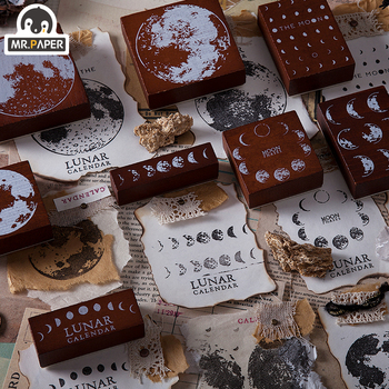 Mr.Paper Wondering Moon Lunar Wooden Rubber Log Stamps For Square Calendar Scrapbooking Decoration DIY Cfaft Standard Stamps