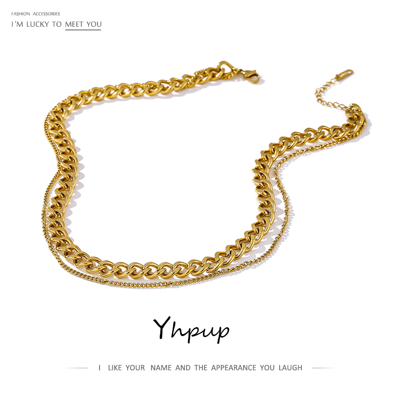 Yhpup 316 Stainless Steel Double Layer Necklace 2021 Choker Collar Statement Fashion Charm Golden Necklace for Women 2021