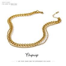 Yhpup 316 Aço Inoxidável de Dupla Camada Colar 2021 Declaração Gargantilha Colar Charme Da Moda Colar de Ouro para As Mulheres 2021