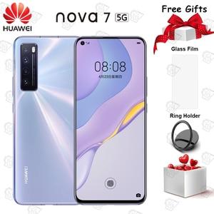 Новинка Huawei Nova 7 5G мобильный телефон 6,53 дюймов OLED экран Kirin 985 SOC 4000 мАч 64.0MP Основная камера NFC быстрое зарядное устройство смартфон